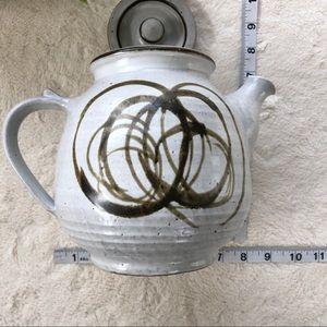 Vintage Kitchen - Handmade vintage Glazed pottery white tea pot
